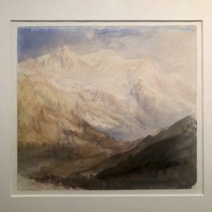 Tableau aquarelle glacier des Bossons Turner  Musée Jacquemart André. exposition Turner